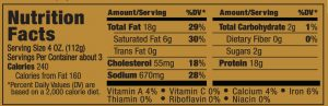 Papa George's 100% Natural Reduced Fat Pork Patty Roll Nutrition Information Label (Hot Flavored Sausage)