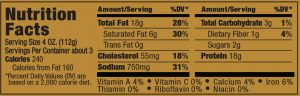 Papa George's 100% Natural Reduced Fat Pork Patty Roll Nutrition Information Label (Italian Flavored Sausage)