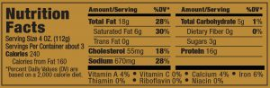 Papa George's 100% Natural Reduced Fat Pork Patty Roll Nutrition Information Label (Maple Flavored Sausage)