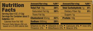 Papa George's 100% Natural Reduced Fat Pork Patty Roll Nutrition Information Label (Regular Sausage Flavor)