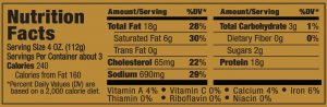 Papa George's 100% Natural Reduced Fat Pork Patty Roll Nutrition Information Label (Sage Flavored Sausage)